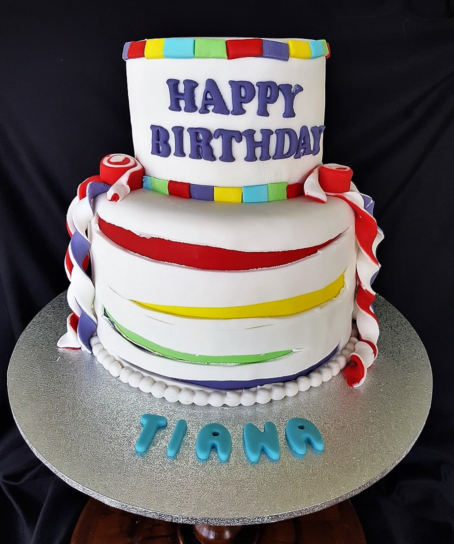 Brilliant Rainbow Cake For Tiana Blissful Bites Funny Birthday Cards Online Aeocydamsfinfo